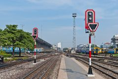 Semáforo de la señal de la estación de tren Imágenes de archivo libres de regalías
