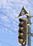 Semáforo de la travesía de ferrocarril Fotos de archivo libres de regalías
