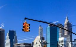 Semáforo de New York City Foto de archivo libre de regalías