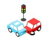 Semáforo del accidente de tráfico isométrico Fotografía de archivo