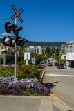 Semáforo ferroviario en la ciudad Imagen de archivo