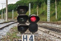 Semáforo ferroviario en la estación Imagen de archivo