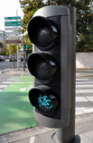 Semáforo verde para las bicis Imagenes de archivo