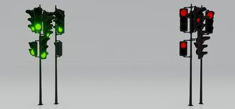 Semáforos de la señal roja y verde Imagen de archivo libre de regalías