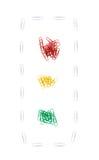 Semáforos de los clips de papel Foto de archivo libre de regalías