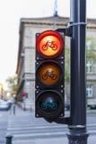 Semáforos para los ciclistas en Budapest Foto de archivo libre de regalías