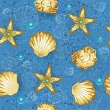 Sem emenda azul de conchas do mar do ouro Foto de Stock Royalty Free