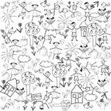 Sem emenda com caráteres do doodle Foto de Stock Royalty Free