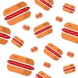 Sem emenda com os Hamburger engraçados no estilo dos desenhos animados Imagem de Stock