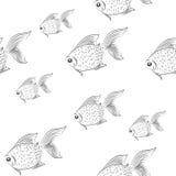 Sem emenda com peixes monocromático Fotografia de Stock Royalty Free