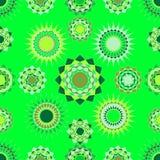 Sem emenda da luz abstrata - verde e luz - figuras redondas amarelas ilustração royalty free
