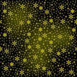Sem emenda de flores pequenas do ouro com as estrelas pequenas no backg preto Foto de Stock Royalty Free