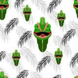 Sem emenda do retrato do camaleão no fundo branco com preto ilustração stock