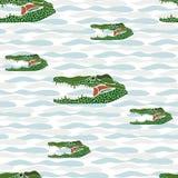 Sem emenda do retrato do crocodilo no fundo branco com luz Fotos de Stock Royalty Free
