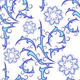 Sem emenda do teste padrão encaracolado azul ilustração do vetor