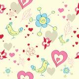 Sem emenda floral com pássaros ilustração royalty free