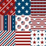 Sem emenda geométrico patriótico do vermelho, o branco e o azul ilustração stock
