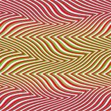 Sem emenda grande das ondas vermelho múltiplo e verde da arte Op Foto de Stock