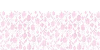 Sem emenda horizontal da textura cor-de-rosa das tulipas de matéria têxtil Fotos de Stock Royalty Free