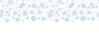 Sem emenda horizontal da textura testile azul das moléculas Fotografia de Stock Royalty Free