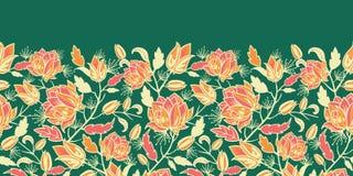 Sem emenda horizontal mágico das flores e das folhas Foto de Stock Royalty Free