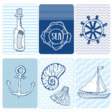 Sem emenda marinho Coleção do cartão das conchas do mar ilustração royalty free