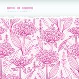 Sem emenda rasgado horizontal do lineart cor-de-rosa dos lillies Imagens de Stock