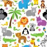 Sem emenda, testes padrões temáticos animais do fundo da selva de Tileable ilustração stock