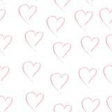 Sem emenda tirado mão da cor do rosa do coração da aquarela Imagem de Stock Royalty Free