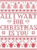 Sem emenda tudo que eu quero para o Natal é você estilo escandinavo, inspirado pelo Natal norueguês, teste padrão festivo do inve Foto de Stock Royalty Free