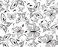 Sem emenda um fundo com borboletas pretas Fotografia de Stock