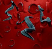 Sem-fim das partículas do vírus no sangue 3d-illustration Imagem de Stock Royalty Free