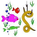 Sem-fim de vista subaquático dos peixes pequenos no gancho ilustração royalty free