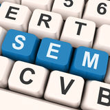 Sem Keys Shows Online Marketing Or Search Engine Optimization Royalty Free Stock Image