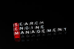 SEM Search Engine Management on black Stock Image