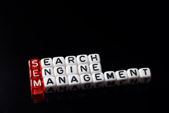 SEM Search Engine Management-zwarte Stock Fotografie