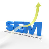 SEM - Search Engine Marketing. With an arrow pointing up Stock Photo