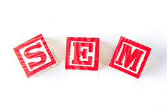 SEM Search Engine Marketing - Alphabet Baby Blocks on white Royalty Free Stock Image