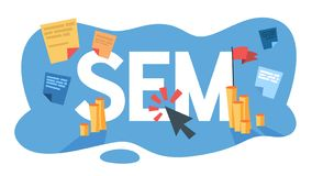 SEM search engine marketing for business promotion royalty free illustration