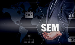 SEM-Search Engine Marketing. Business Strategy Concept. The businessman shakes his finger on a virtual screen Stock Photo