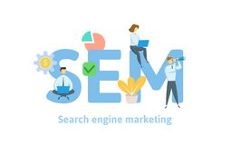 SEM, search engine marketing. Concept with keywords, letters, and icons. Flat vector illustration. Isolated on white vector illustration