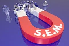SEM Search Engine Marketing Magnet-Klanten stock illustratie
