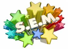 SEM Search Engine Marketing Stars aktionadvertizing Royaltyfria Bilder