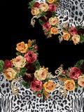 Flowers animal print black design print. Flowers flores roses animal print design print moda woman red stock photography