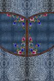 Jeans embroidery flowers blue texture royalty free stock images