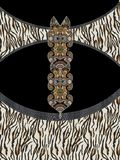 Geometric colors animal print design. Black woman moda embroidery beatiful stock photo