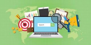 Sem zoekmachine marketing seo het notitieboekje van de reclameanalyse stock illustratie