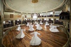 Sema仪式在Yenikapi Mevlevihanesi,伊斯坦布尔土耳其 库存照片