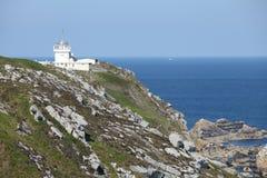 Semafor på Pointe du Toulinguet, Brittany, Frankrike Arkivfoton