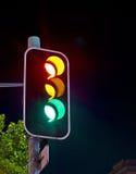 Semafori alla notte Fotografie Stock Libere da Diritti